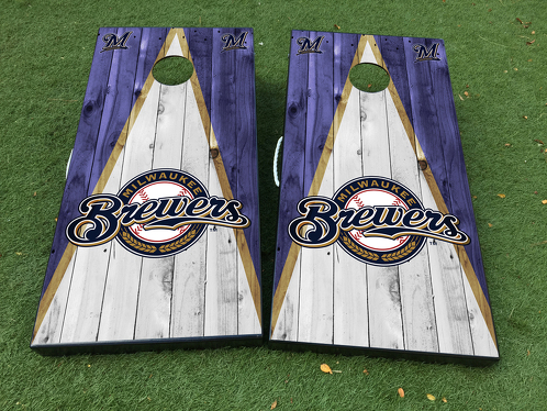 Milwaukee Brewers Cornhole Board Game Decal VINYL WRAPS with LAMINATED