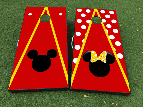 Mickey Minnie Mouse couple Cornhole Board Game Decal VINYL WRAPS with LAMINATED