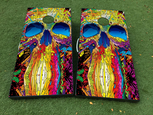Colorful Skull art Cornhole Board Game Decal VINYL WRAPS with LAMINATED