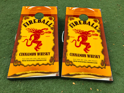 Fireball Cinnamon Whisky Cornhole Board Game Decal VINYL WRAPS with LAMINATED