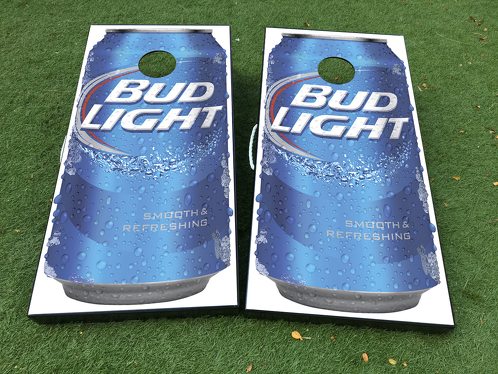 Bud Ligth Beer Cornhole Board Game Decal VINYL WRAPS with LAMINATED
