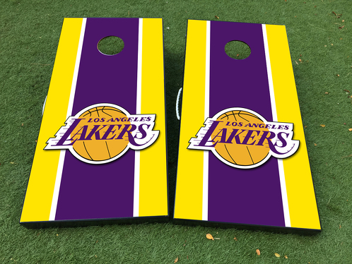 Los Angeles Lakers Cornhole Board Game Decal VINYL WRAPS with LAMINATED
