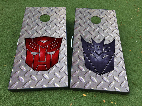 Transformer logo Autobot Decepticon Cornhole Board Game Decal VINYL WRAPS with LAMINATED