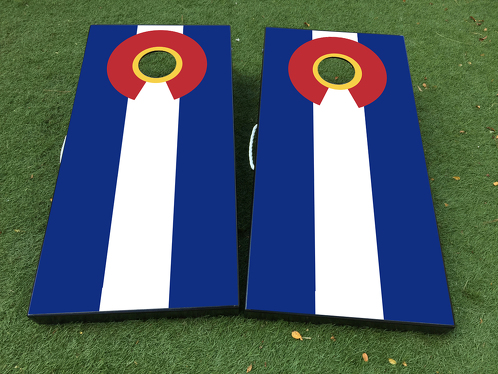 Flag of Colorado Cornhole Board Game Decal VINYL WRAPS with LAMINATED