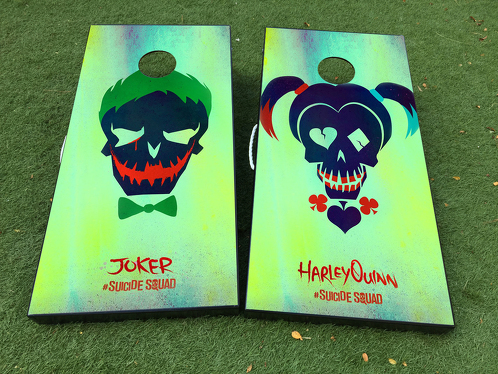 Harley Quinn & Joker art Cornhole Board Game Decal VINYL WRAPS with LAMINATED
