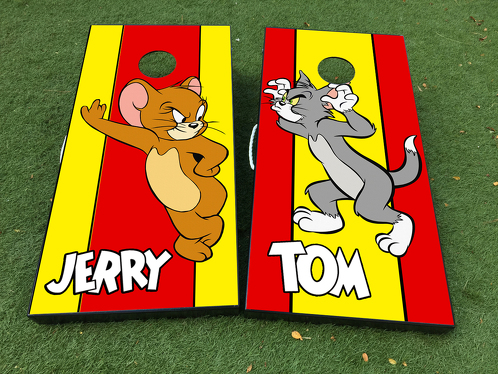 Tom And Jerry Cartoon Cornhole Board Game Decal VINYL WRAPS with LAMINATED
