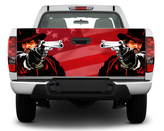 American USA Cowboy flag  Tailgate Decal Sticker Wrap Pick-up Truck SUV Car red dead redemption
