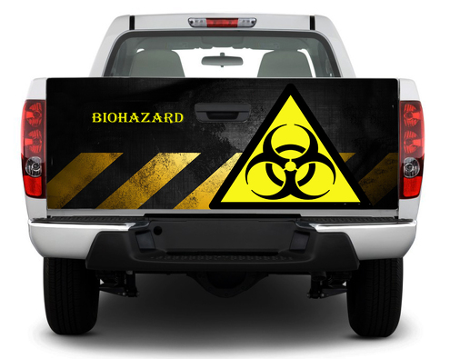 Biohazard Toxic Danger  Tailgate Decal Sticker Wrap Pick-up Truck SUV Car