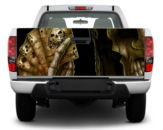 Skull death card poker Rear Window OR Tailgate Decal Sticker Wrap Pick-up Truck SUV Car