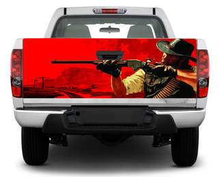 Cowboy Hunting Gun Tailgate Decal Sticker Wrap Pick-up Truck SUV Car red dead redemption