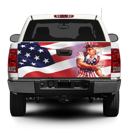 Uncle Sam American USA flag Tailgate Decal Sticker Wrap Pick-up Truck SUV Car