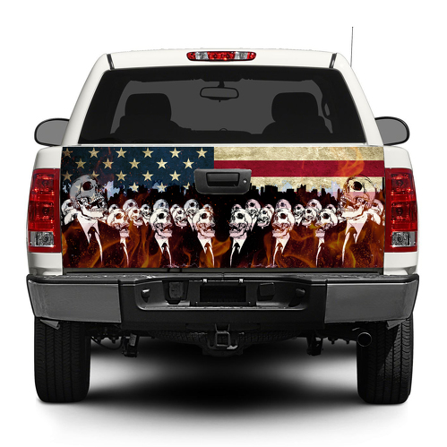 Zombie American USA flag Tailgate Decal Sticker Wrap Pick-up Truck SUV Car