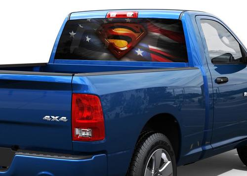 SuperMan american flag Rear Window Decal Sticker Pick-up Truck SUV Car
