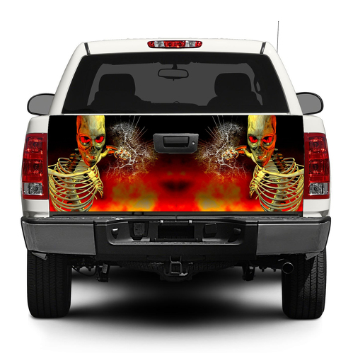 Zombie Skull skeleton bloken glass Tailgate Decal Sticker Wrap Pick-up Truck SUV Car