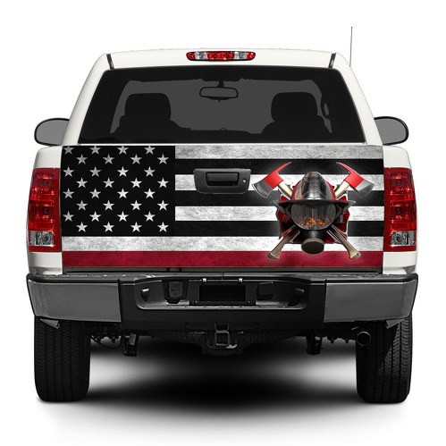 American flag Firefighter Tailgate Decal Sticker Wrap Pick-up Truck SUV Car