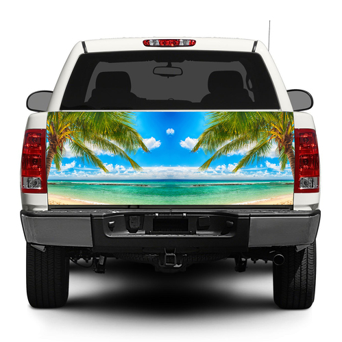 Palm Trees Beach tropical Tailgate Decal Sticker Wrap Pick-up Truck SUV Car