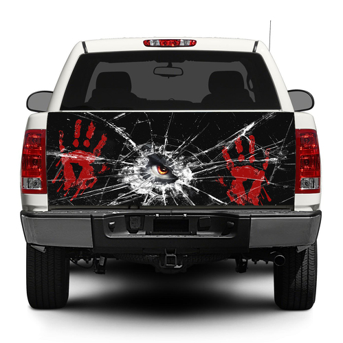 Blood Hands Broken glass Tailgate Decal Sticker Wrap Pick-up Truck SUV Car