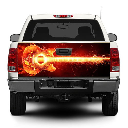 Guitar Buring rock music Tailgate Decal Sticker Wrap Pick-up Truck SUV Car