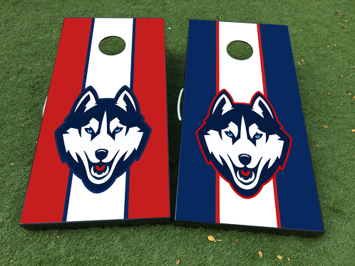 Connecticut Huskies Basketball Cornhole Board Game Decal VINYL WRAPS with LAMINATED