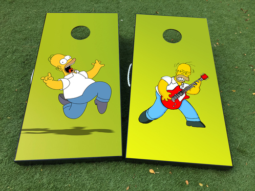 Homer Simspons cartoon rock Cornhole Board Game Decal VINYL WRAPS with LAMINATED