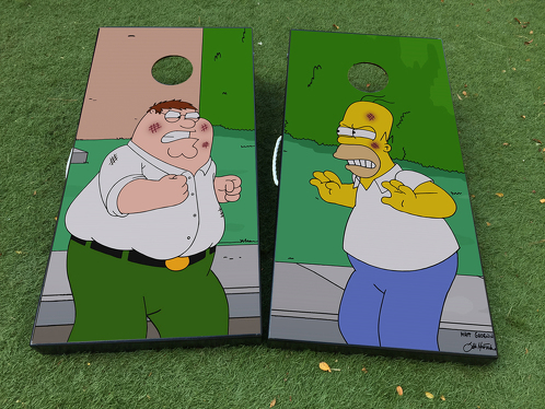 Homer Simspons Family Guy Peter cartoon  Cornhole Board Game Decal VINYL WRAPS with LAMINATED