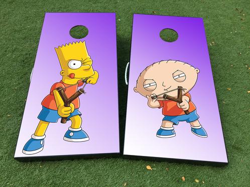 Bart Simspons Family Guy Stewie Cartoon Cornhole Brettspiel Aufkleber VINYL WRAPS mit LAMINATED