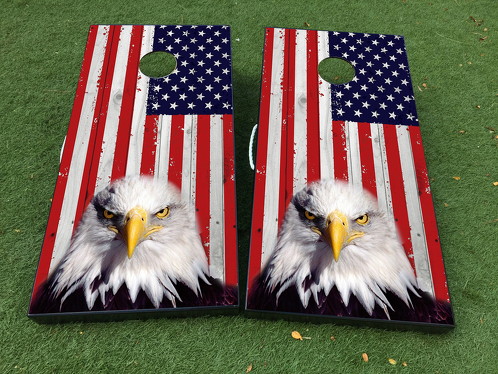 American Eagle USA flag Cornhole Board Game Decal VINYL WRAPS with LAMINATED