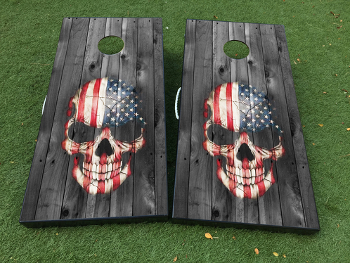 Skull USA Flag death Cornhole Board Game Decal VINYL WRAPS with LAMINATED