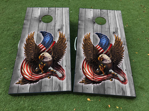 American Eagle USA Flag Wood Cornhole Board Game Decal VINYL WRAPS with LAMINATED