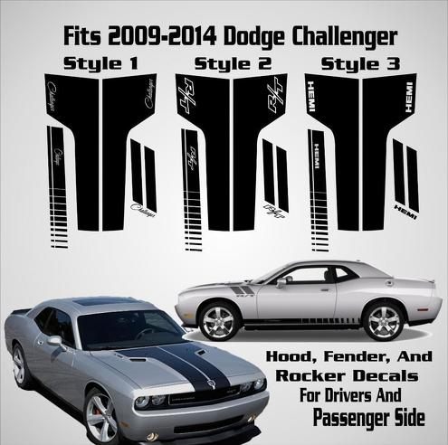 2009-2014 Dodge Challenger Hood Racing Stripe Decal RT Full Graphics Car Kit