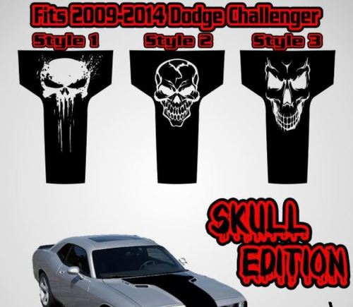 2009 2010 2011 2012 2013 2014 Dodge Challenger Hood Racing Stripe Decal Skull