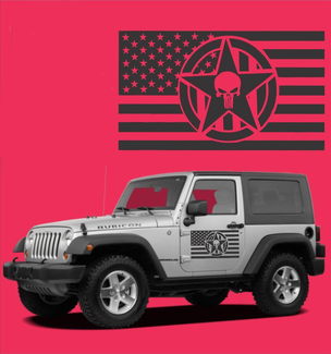 American Flag Star Punisher Vinyl Door Decals Fits Wrangler TJ LJ JK CJ Military