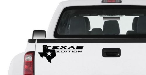 TEXAS EDITION Truck Vinyl Decal sticker sport racing logo map Pickup bed BLACK