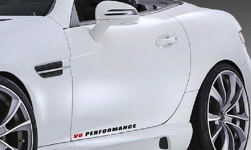 2 - V6 PERFORMANCE Vinylrock Aufkleber Sport Racing Aufkleber SCHWARZ / ROT