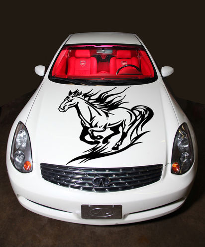 RUNNING HORSE MUSTANG ANIMAL CUTE DESIGN HOOD VINYL STICKER DECALS G26
