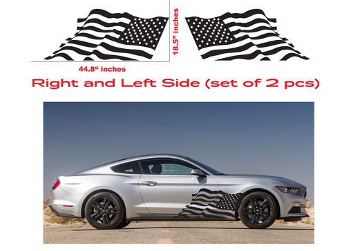 AMERICAN USA FLAG Ford Mustang Decal Vinyl Side Door Graphics