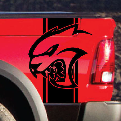 Dodge Ram Rebel Hell Cat Side Stripe Logo Vinyl Decal Graphic Hellcat
