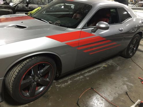 Custom Hash Decal Graphics Vinyl Racing Stripe Strobe Challenger RT Hellcat SRT