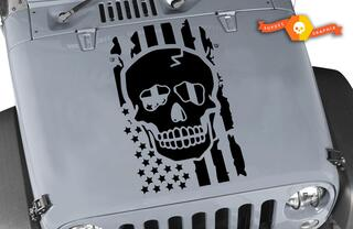 Distressed Skull flag Hood vinyl sticker decal Jeep USA punisher Dodge SF1
