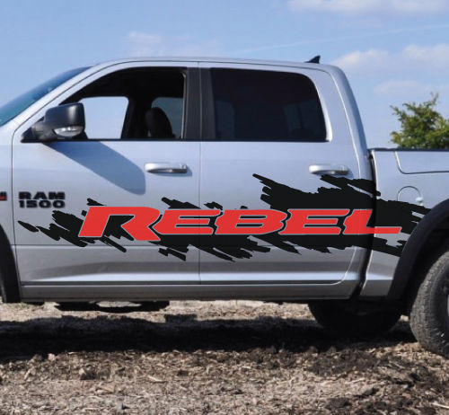 2 Color Dodge Ram Rebel Logo Splash Grunge Vinyl Decal Graphic Camo Truck Cast