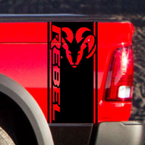 Dodge Ram Rebel Side Stripe Bed Logo Truck Vinyl Decal Graphic Chrome Reflective