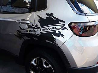 Jeep Renegade Cherokee Compass Trail Hawk Side Splash Splatter Logo Graphic Vinyl Decal