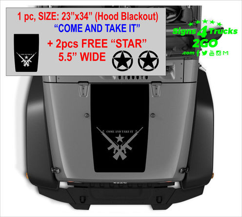 Hood Blackout Set - 1 +2 FREE  Star  Decals Vinyl Graphic JEEP WRANGLER JK