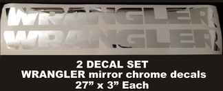 Set of 2 Jeep WRANGLER Mirror Chrome vinyl fender decals JK JKU LJ TJ