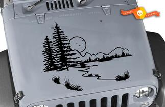 Hood Nature +2 FREE Star Decals Vinyl Graphic JEEP WRANGLER JK TJ