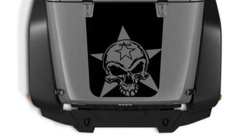 Hood Blackout SKULL STAR +2 FREE  Star  Decals Vinyl Graphic JEEP WRANGLER