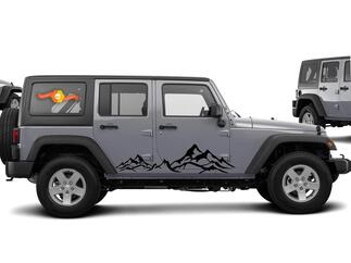 2pcs MOUNTAIN Fender Side Decal Sets Graphic JEEP WRANGLER RUBICON SAHARA n5