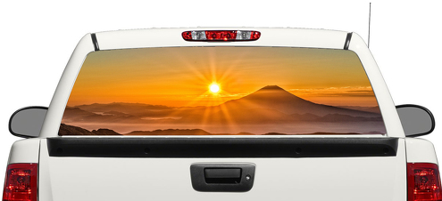 Sunset Mount fuji Japan Sun Rear Window Decal Sticker Pick-up Truck SUV Car 3