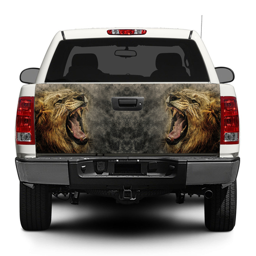 Lion Angry Wild Animal King  Flag Tailgate Decal Sticker Wrap Pick-up Truck SUV Car