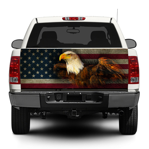 American Eagle USA Flag Tailgate Decal Sticker Wrap Pick-up Truck SUV Car